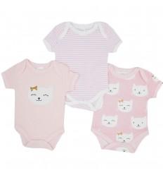 Set de 3 bodys para bebé niña- Gatica rosa