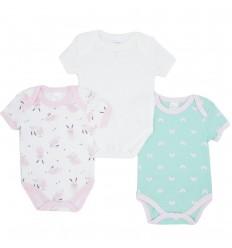 Set de 3 bodys para bebé niña- Conejo