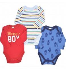 Set e 3 bodys para bebé niño- Robots
