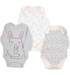 Set de 3 bodys para bebé niña- Conejos