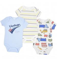 Set de 3 bodys para bebé niño- Carros