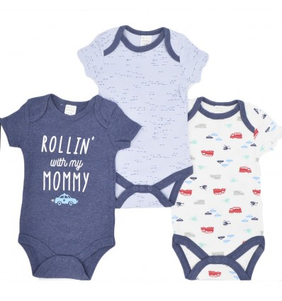 Set de 3 bodys para bebé niño-Medios de transporte