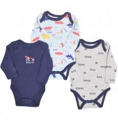 Set de 3 bodys para bebé niño- Dinosaurio