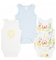 Set de 3 bodys para bebé niño- Manga sisa
