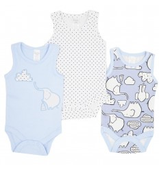 Set de 3 bodys para bebé niño- sisa elefantes