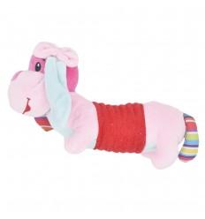 Sonajero de pito en peluche- Perrito rosa