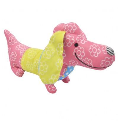 Sonajero de pito en tela- Perrito rosado