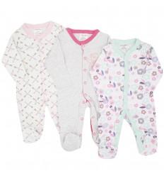Set de 3 pijamas para bebé niña estampadas