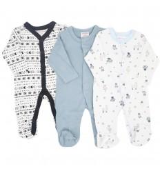 Set de 3 pijamas para bebé niño azul