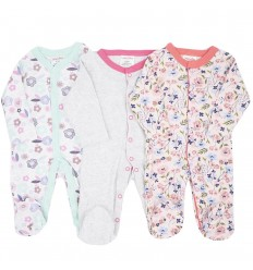 Set de 3 pijamas para bebé niña Flores