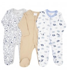 Set de 3 pijamas para bebé niño estampadas