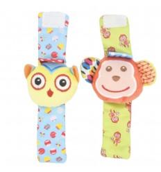 Pulseras sonajeras por 2 para bebé- Buho y mico