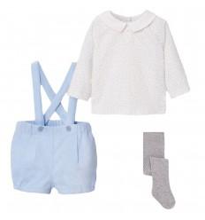 Conjunto 3 piezas para bebé - Azul cielo