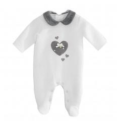 Pijama enteriza para bebé niña- Crudo Corazon