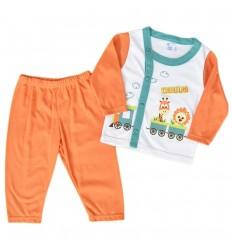 Pijama dos piezas para niño Naranja - Trensito