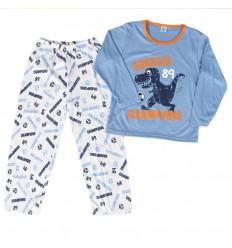 Pijama dos piezas para niño- Azul Dinosaurio soccer