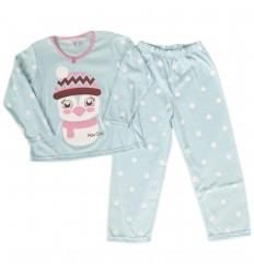Pijama dos piezas para niña - Azul pinguina