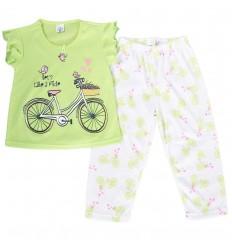 Pijama dos piezas para niña-Verde Bicicleta