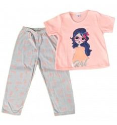 Pijama dos piezas para niña- Salmon con gris