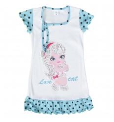 Pijama en Bata para niña - Azul estampada