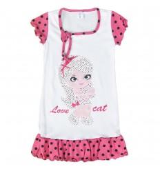 Pijama en Bata para niña- Blanco con fucsia