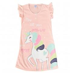 Pijama en Bata para niña-Naranja Unicornio