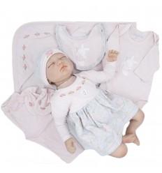 Primera muda para bebé niña- Gris con rosa