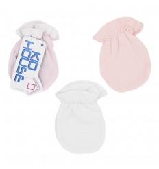 Set de 3 mitones para bebé niña rosados