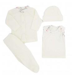 Conjunto de ropa para bebé prematura - Crema