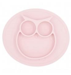 Plato en silicona para bebé con diseño de buho-Rosado