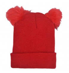 Gorro para niñas con pompones - Rojo
