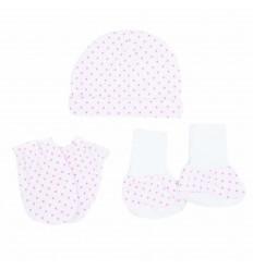 Set para bebé prematura blanco con puntos