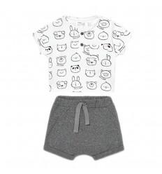 Conjunto 2 piezas para bebé- Gris animalitos