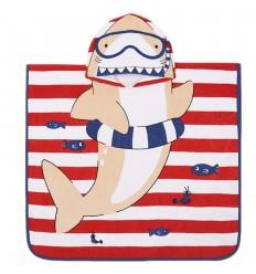 Toalla capa estampada bebé niño Tiburon