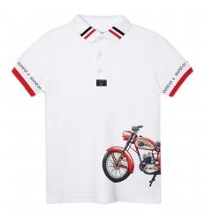 Polo manga corta moto niño- Blanco