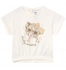 Camiseta para bebé niña - Crudo- Leoparda