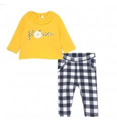 Conjunto dos piezas para bebé niña- Amarillo