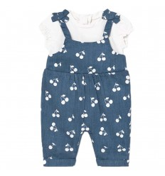 Overol blusa largo para bebé niña- cerezas