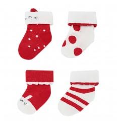 Set de 4 pares de medias para bebé -Rojo