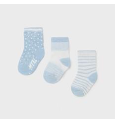 Set de 3 pares de medias para bebé Azul cielo