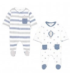 Set de dos pijamas para bebé niño-Azul