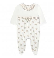 Pijama para bebé niña Corazones- Beige