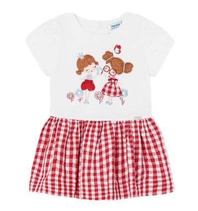 Vestido cuadros para bebé niña - Rojo