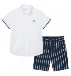 Conjunto camisa y short para niño- Marino