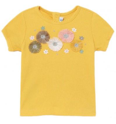 Camiseta acanalada para niña - Mostaza