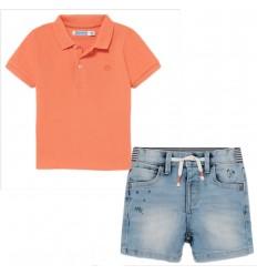Conjunto short y polo para niño- Naranja