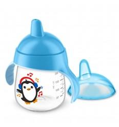 Vaso entrenador Avent- Pinguino-Azul