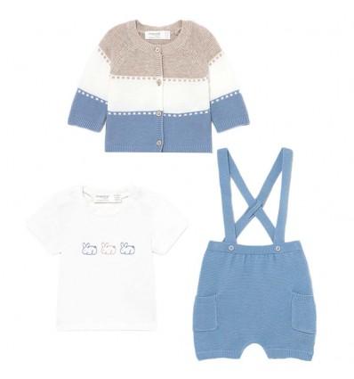 Conjunto en hilo 3 piezas bebé niño- Azul