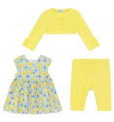 Conjunto 3 piezas para bebé niña - Amarillo