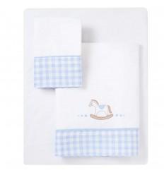 Sábanas de cuna bebé - Azul Caballito